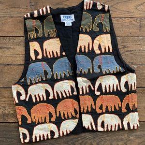 Vintage Indian Cotton Elephant Embroidered Vest